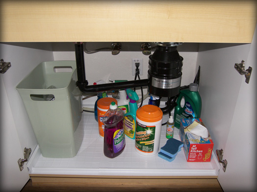 No lost space when using the Slide N' Fit cabinet base protector